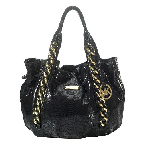 6ef5f169483d4d MICHAEL Michael Kors Python Print 'ID Chain' North/South Tote