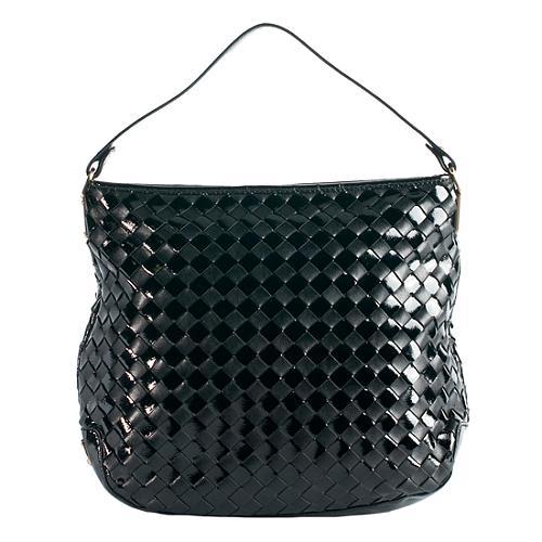 Michael Kors Woven Leather Newbury Large Shoulder Handbag