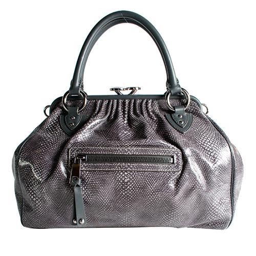 Marc Jacobs Embossed Snake Stam Satchel Handbag