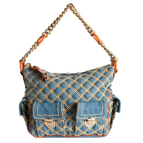 Marc Jacobs Quilted Denim Hobo Handbag