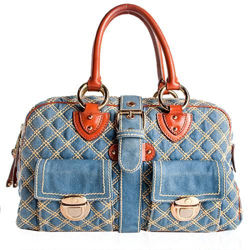 Marc Jacobs Quilted Denim Venetia Satchel Handbag
