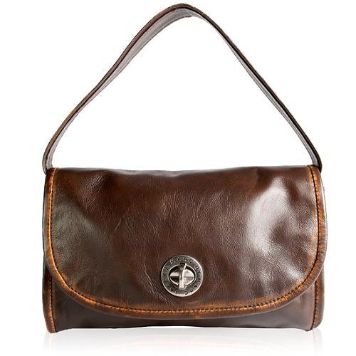 Marc by Marc Jacobs Distressed Leather Turnlock Shoulder Handbag