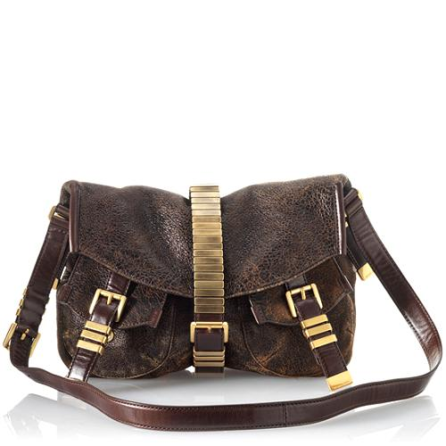 Michael Kors Darrington Flap Distressed Leather Shoulder Handbag