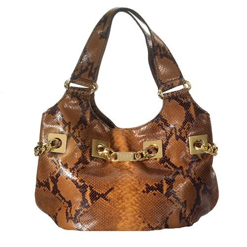 Michael Kors Large Knoxville Embossed Python Shoulder Tote