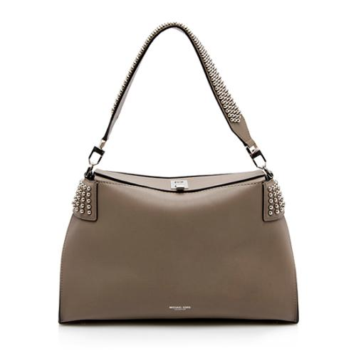 Michael Kors Leather Studded Miranda Top Lock Satchel