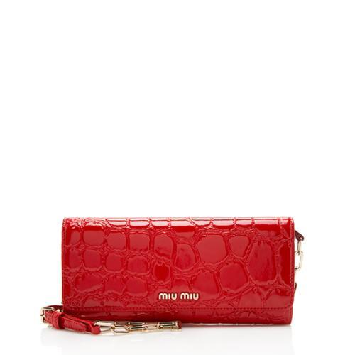 Miu Miu Alligator Embossed Patent Leather Wallet Crossbody Bag