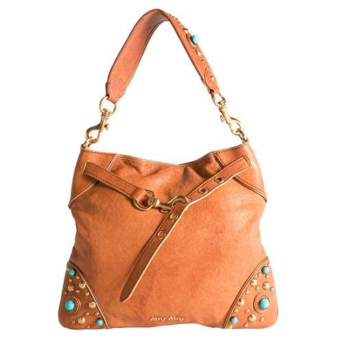 Miu Miu Buffalo Stone Shoulder Handbag