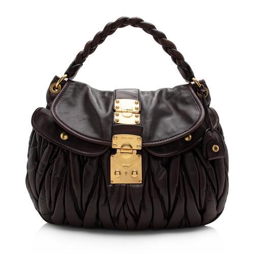 Miu Miu Calfskin Lux Matelasse Coffer Shoulder Bag