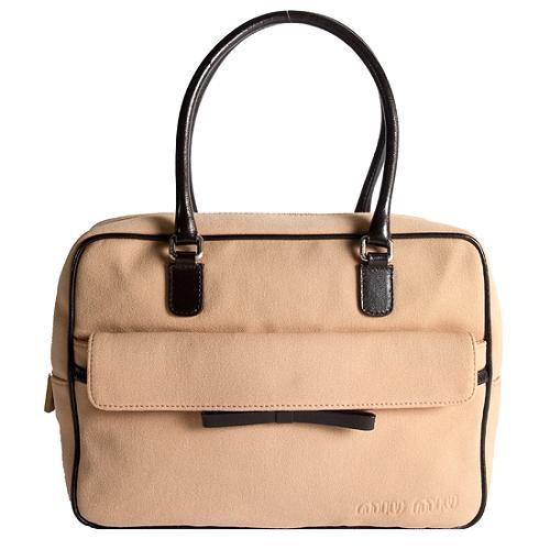 Miu Miu Canvas Twill Satchel Handbag