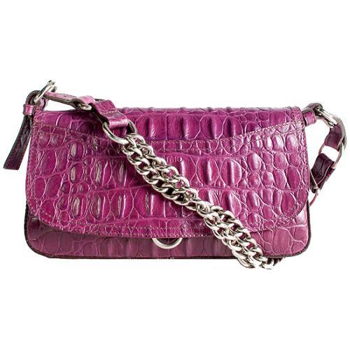 Miu Miu Croc Embossed Leather Shoulder Handbag