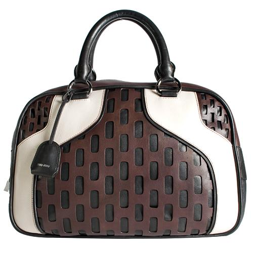Miu Miu Cutout Bowling Satchel Handbag