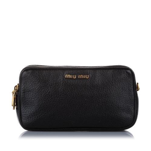 Miu Miu Double Zip Leather Crossbody Bag