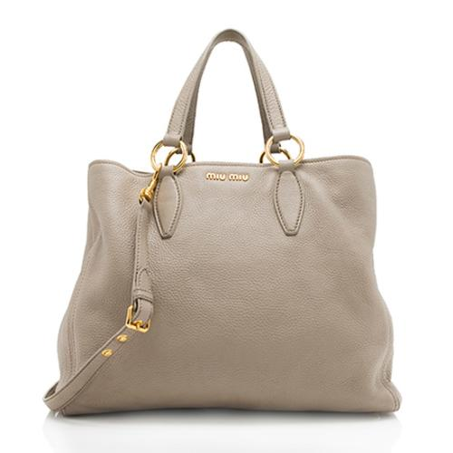 Miu Miu Goatskin Leather Convertible Large Tote