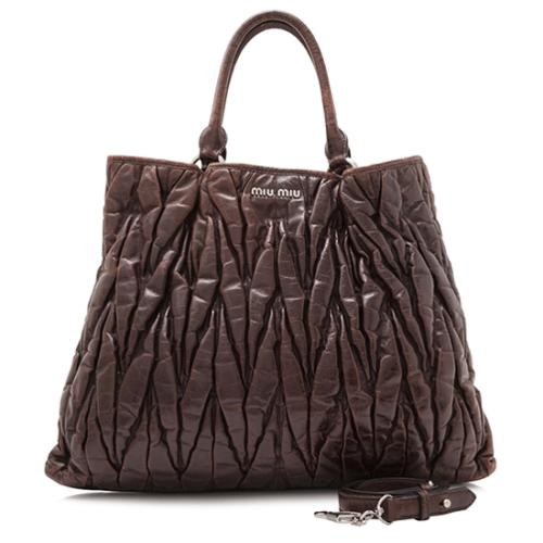 Miu Miu Matelasse Leather Shopping Tote