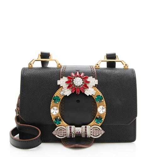Miu Miu Leather Crystal Buckle Crossbody Bag