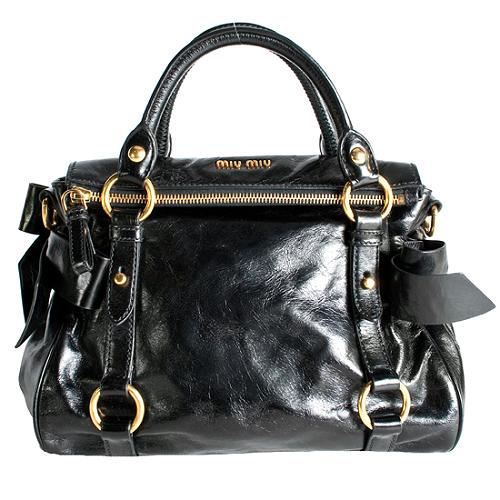 Miu Miu Leather Fold-Over Mini Bow Satchel Handbag