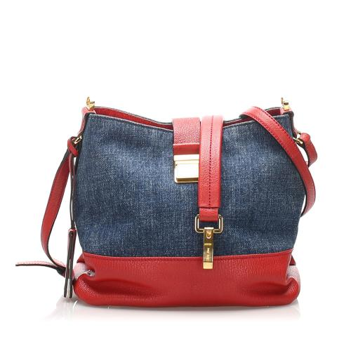 Miu Miu Denim Madras Crossbody Bag