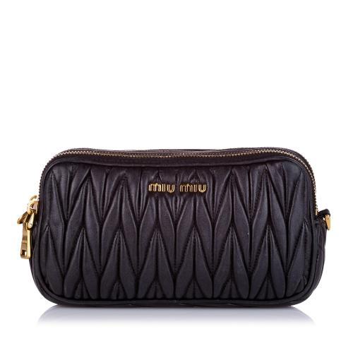 Miu Miu Matelasse Double Zip Leather Crossbody Bag