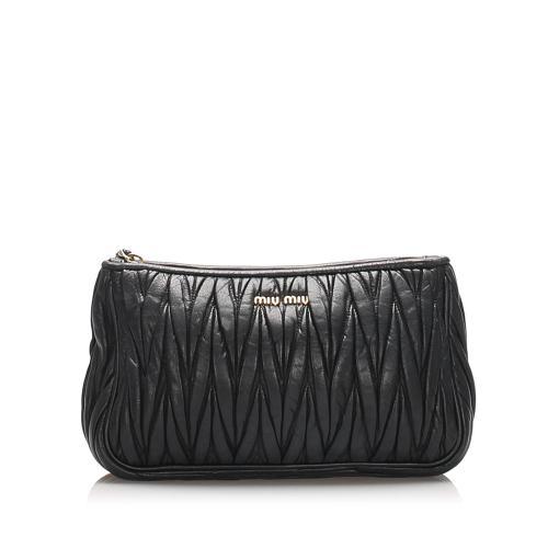 Miu Miu Matelasse Leather Clutch Bag