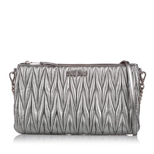 Miu Miu Metallic Matelasse Leather Crossbody Bag