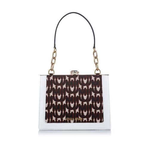 Miu Miu Miu Solitaire Canvas Shoulder Bag