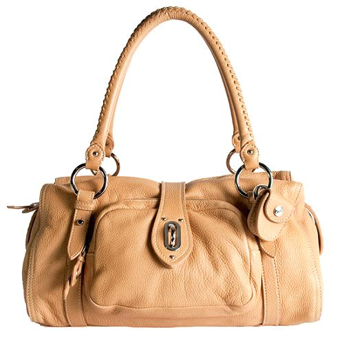 Miu Miu Nappa Leather Front Pocket Lock Shoulder Handbag