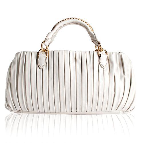 Miu Miu Pleated Leather Plisse Satchel Handbag