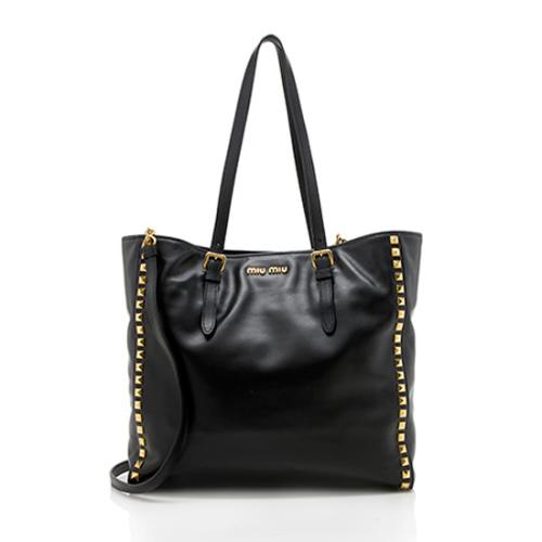 Miu Miu Soft Calf Leather Studded Tote