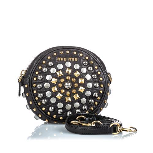 Miu Miu Studded Leather Crossbody Bag