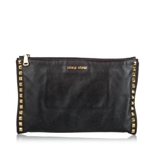 Miu Miu Studded Soft Calf Leather Clutch