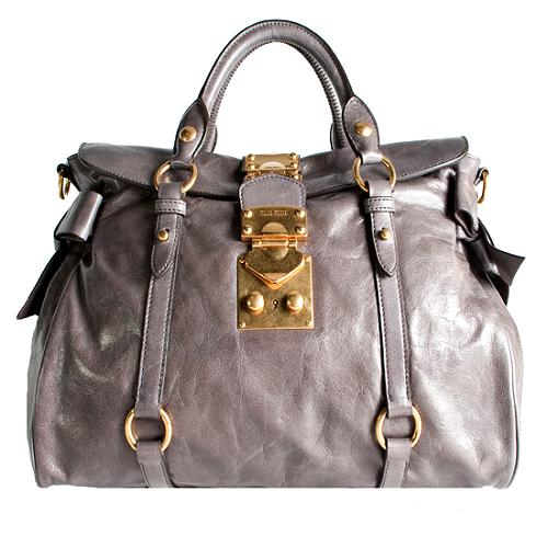 Miu Miu Vitello Lux Bow Satchel Handbag