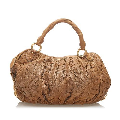 Miu Miu Woven Leather Handbag