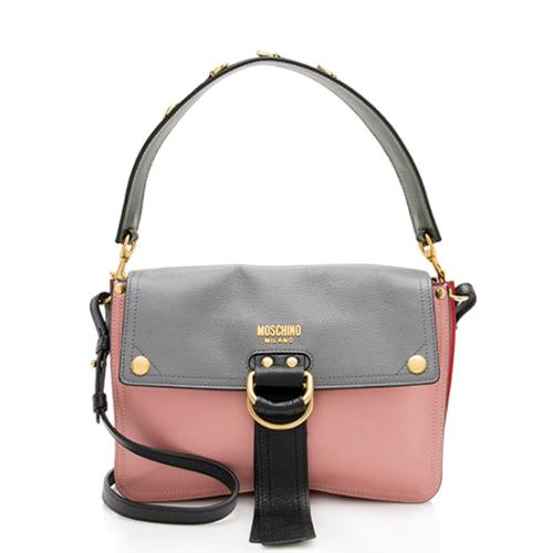 Moschino Leather Colorblock Flap Shoulder Bag