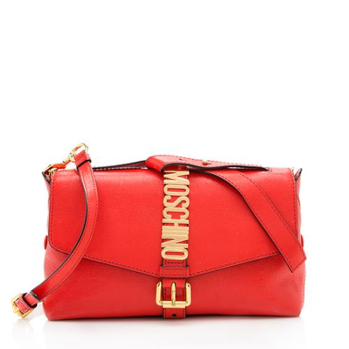 Moschino Leather Logo Buckle Flap Shoulder Bag