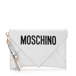 Moschino Leather Signature Envelope Clutch