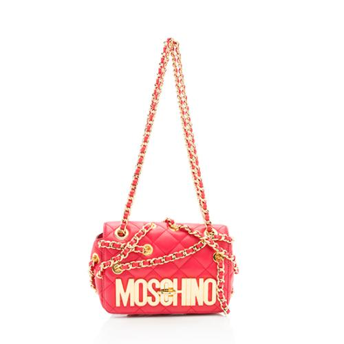Moschino Quilted Leather Chain Crossover Shoulder Bag