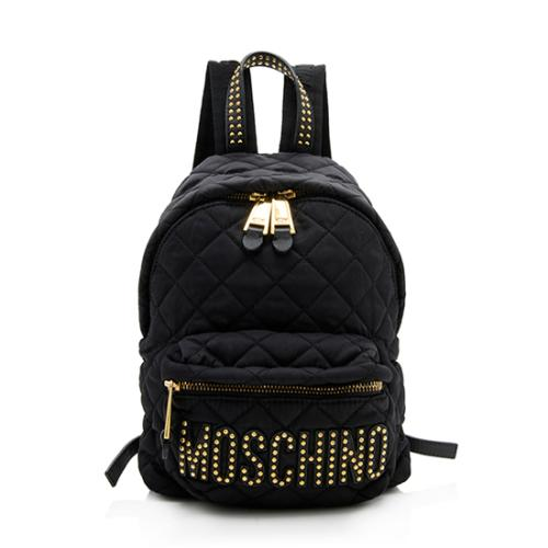 Moschino Quilted Nylon Studded Backpack