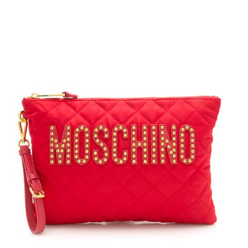 Moschino Quilted Nylon Studded Clutch