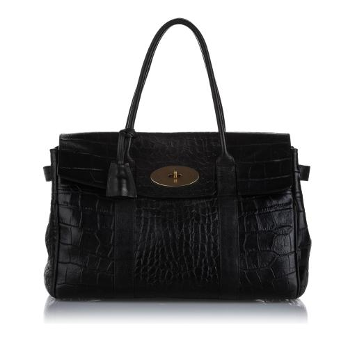 Mulberry Embossed Bayswater Leather Handbag