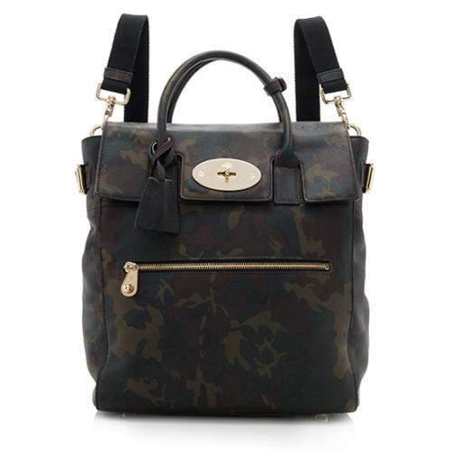 Mulberry Leather Camo Print Large Backpack