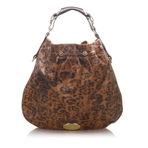 Mulberry Leather Leopard Print Hobo