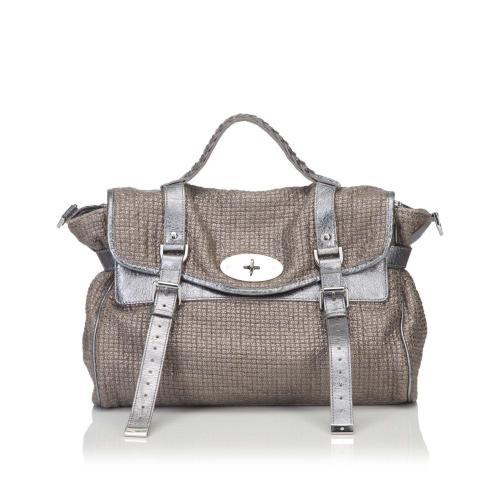 Mulberry Metallic Cotton Weave Alexa Satchel