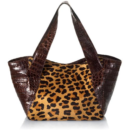 Nancy Gonzalez Calf Hair & Crocodile Tote