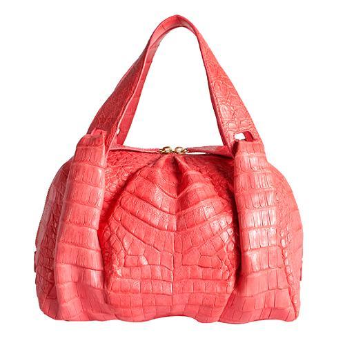 Nancy Gonzalez Ruched Crocodile Satchel Handbag