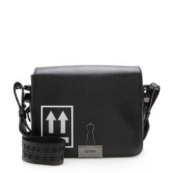 Off-White Leather Binder Clip Crossbody Bag