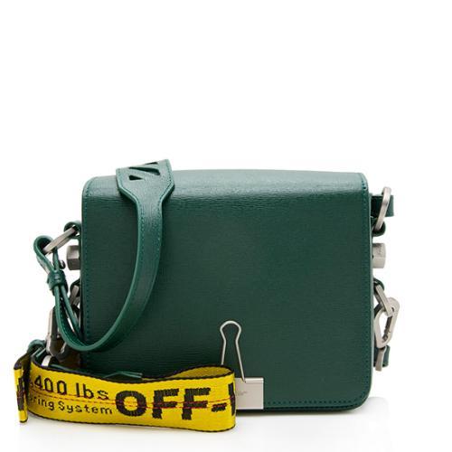 Off-White Leather Binder Clip Shoulder Bag