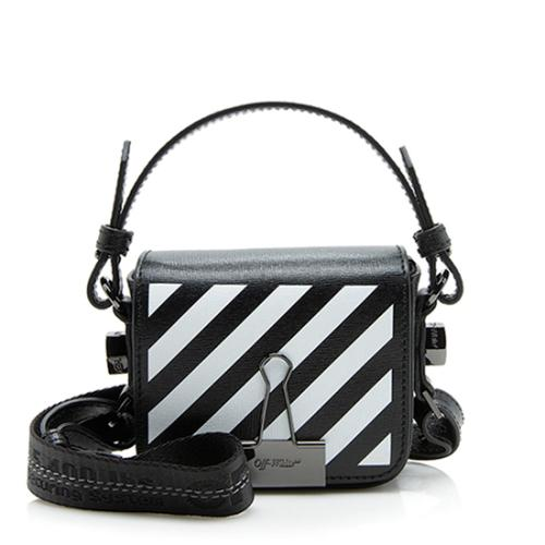 Off-White Leather Diagonal Stripe Baby Shoulder Bag