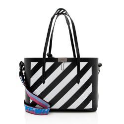 Off-White Leather Diagonal Stripe Binder Shopper Tote