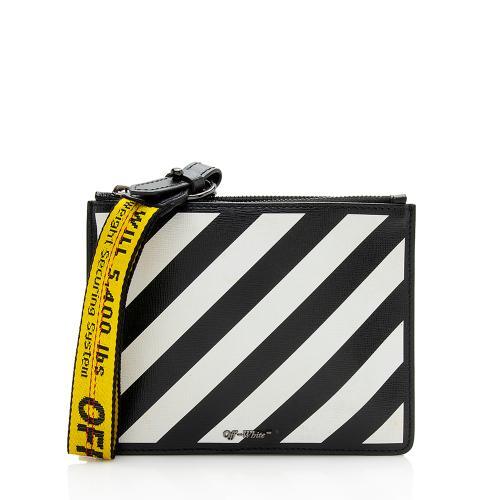 Off-White Leather Diagonal Stripe Flat Zip Clutch