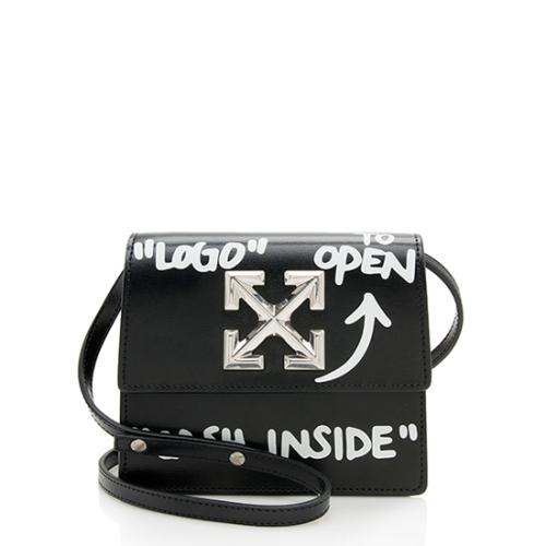 Off-White Leather Jitney 0.7 Cash Inside Crossbody Bag